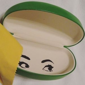 Kate Spade glitter green glasses case with cloth